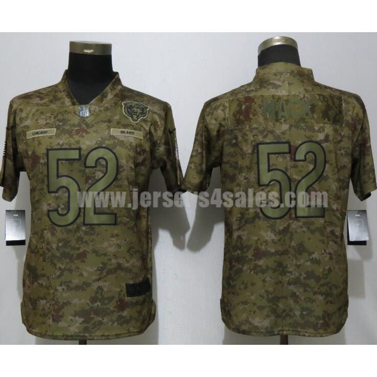 Women's Chicago Bears #52 Khalil Mack Nike Camo Salute To Service Retired Player Limited Jersey