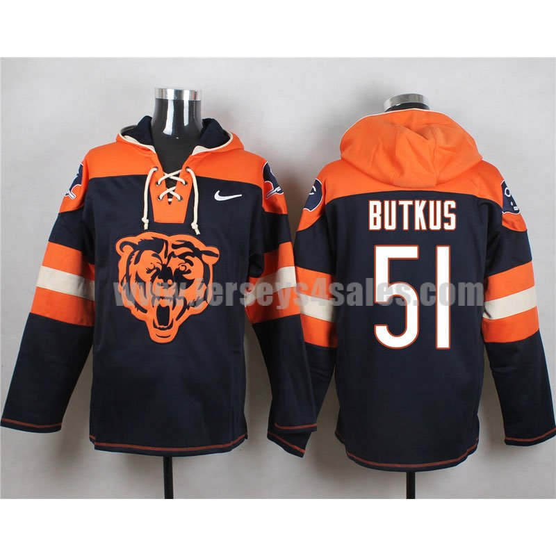 Men's Chicago Bears #51 Dick Butkus Retired Player Big Logo Lace-Up NFL Hoodie - Navy Blue