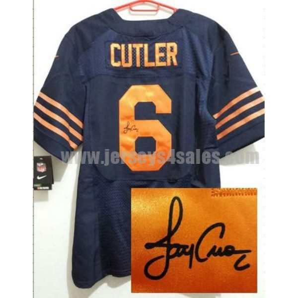 Nike Bears #6 Jay Cutler Navy Blue Men's Stitched NFL 1940s Throwback Elite Autographed Jersey