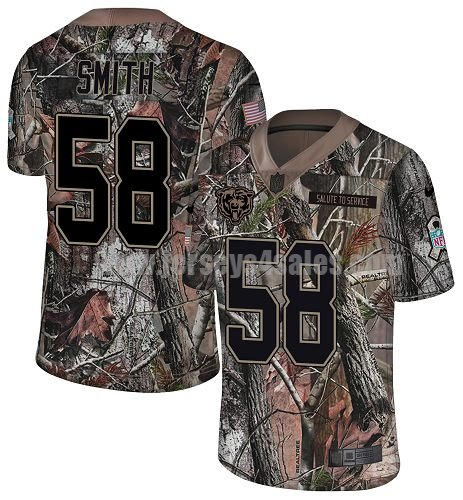 Men's Nike Chicago Bears #58 Roquan Smith Camo Stitched NFL Limited Rush Realtree Jersey