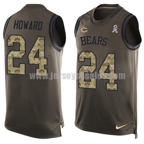 Men's Nike Chicago Bears #24 Jordan Howard Green Stitched NFL Limited Salute To Service Tank Top Jersey