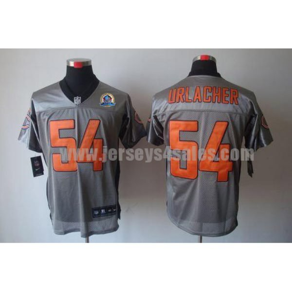 Nike Bears #54 Brian Urlacher Grey Shadow With Hall of Fame 50th Patch Men's Stitched NFL Elite Jersey