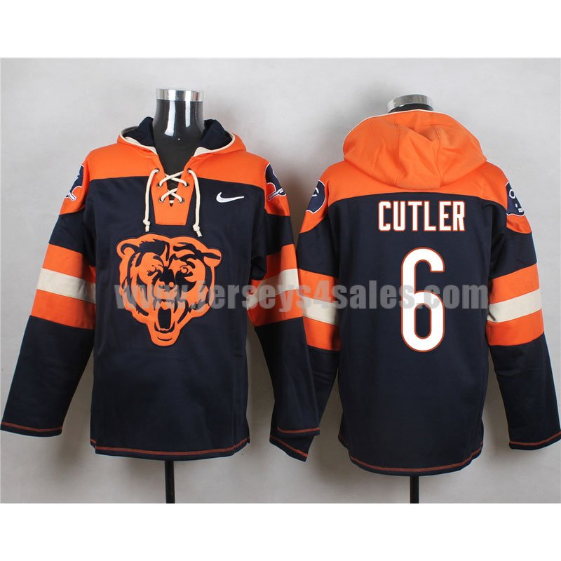 Men's Chicago Bears #6 Jay Cutler Big Logo Lace-Up NFL Hoodie - Navy Blue