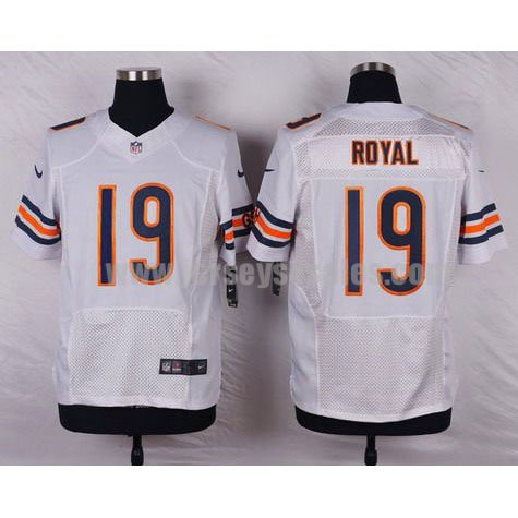 Men's Chicago Bears #19 Eddie Royal White Stitched Nike NFL Road Elite Jersey