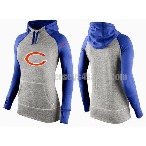 Women's Chicago Bears Nike Grey/Royal Blue All Time Performance NFL Hoodie
