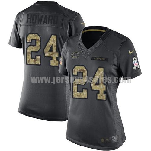 Women's Nike Chicago Bears #24 Jordan Howard Black Stitched NFL Limited 2016 Salute to Service Jersey
