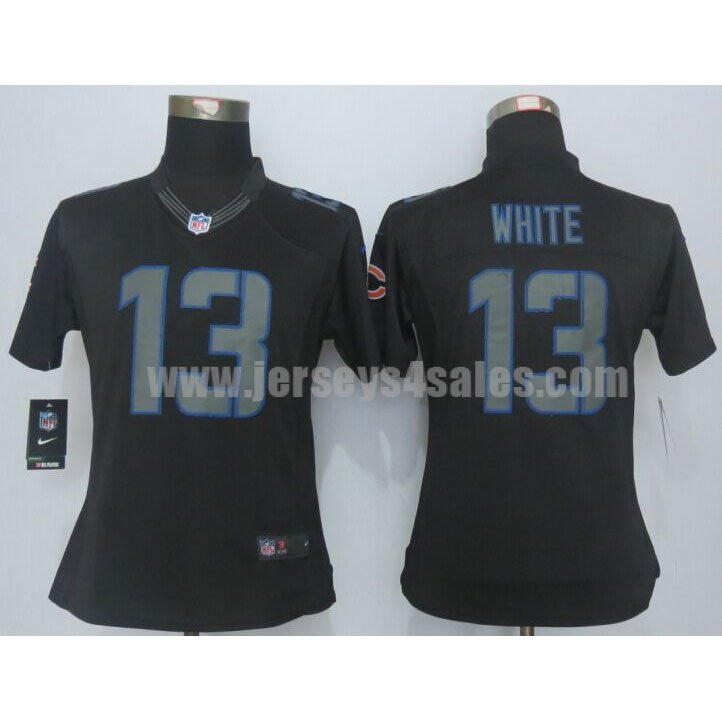 Women's Chicago Bears #13 Kevin White Black Impact Nike Stitched NFL Limited Jersey
