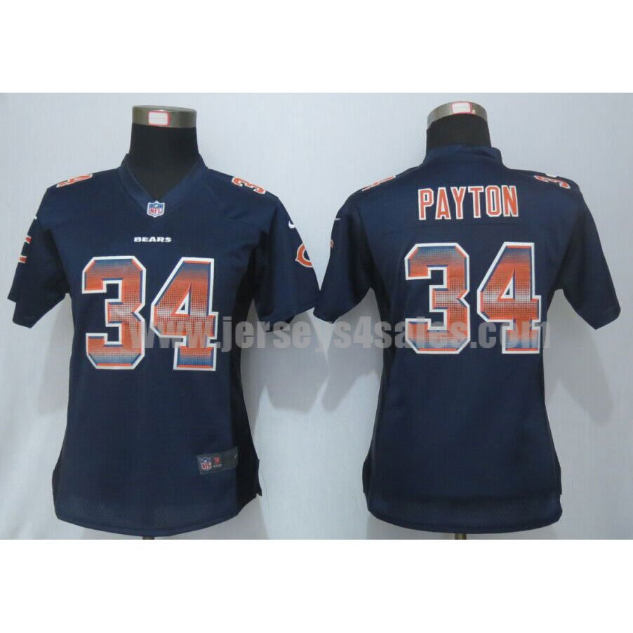 Women's Chicago Bears #34 Walter Payton Navy Blue Stitched Strobe Nike NFL Elite Jersey