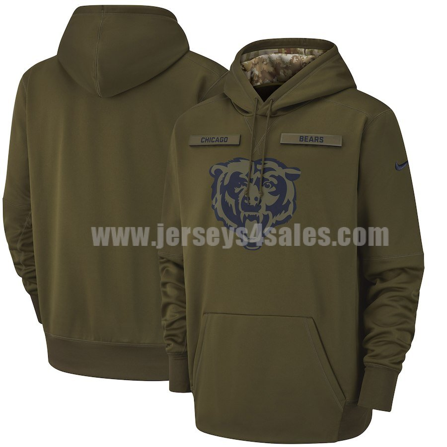 Men's Chicago Bears Nike Olive Salute To Service Sideline Therma Performance Pullover Hoodie