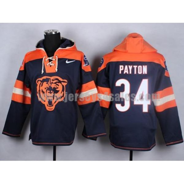 Nike Bears #34 Walter Payton Navy Blue Player Pullover NFL Hoodie