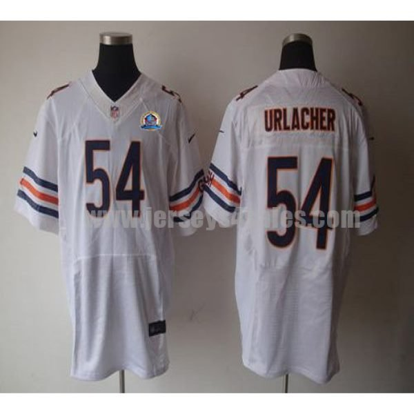 Nike Bears #54 Brian Urlacher White With Hall of Fame 50th Patch Men's Stitched NFL Elite Jersey