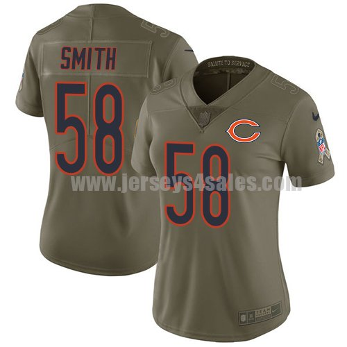 Women's Nike Chicago Bears #58 Roquan Smith Olive Stitched NFL Limited 2017 Salute to Service Jersey