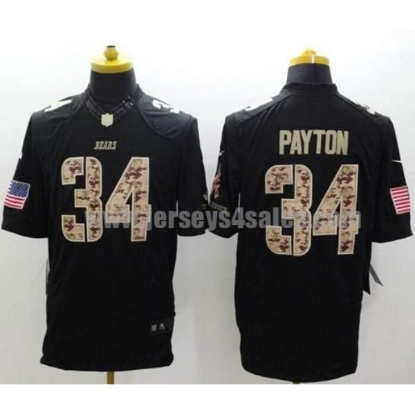 Nike Bears #34 Walter Payton Black Men's Stitched NFL Limited Salute to Service Jersey