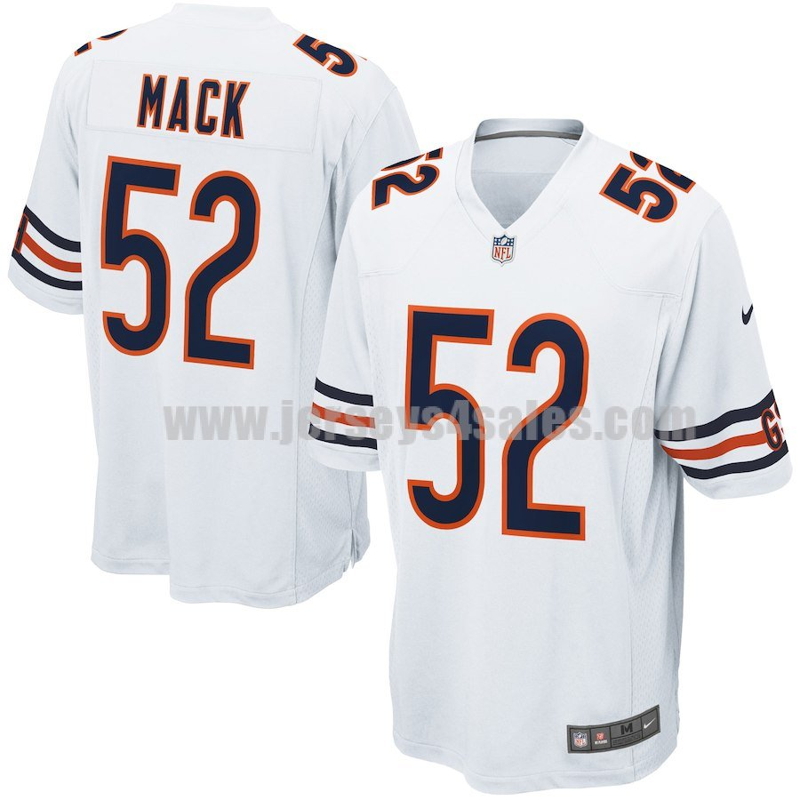Men's Nike Chicago Bears #52 Khalil Mack White NFL Game Jersey