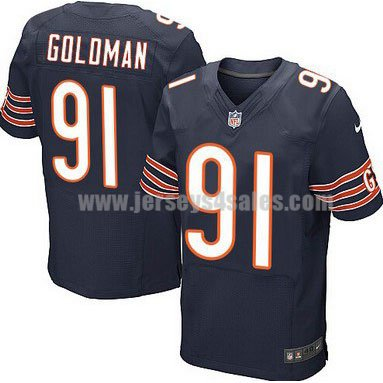 Men's Chicago Bears #91 Eddie Goldman Navy Blue Stitched Nike NFL Home Elite Jersey