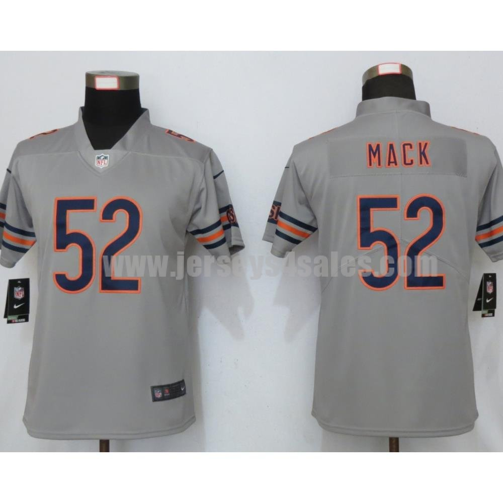 Women's Chicago Bears #52 Khalil Mack Nike Silver Inverted Legend Jersey
