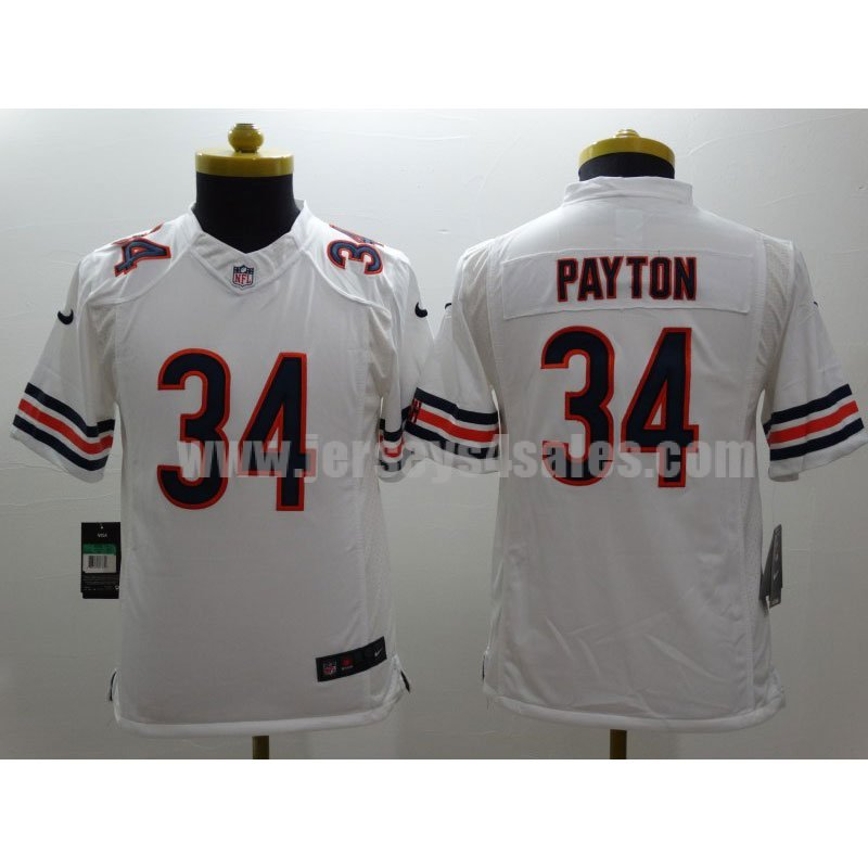 Youth Chicago Bears #34 Walter Payton White Stitched Nike NFL Limited Jersey