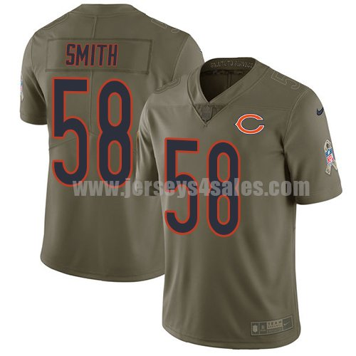 Youth Nike Chicago Bears #58 Roquan Smith Olive Stitched NFL Limited 2017 Salute to Service Jersey