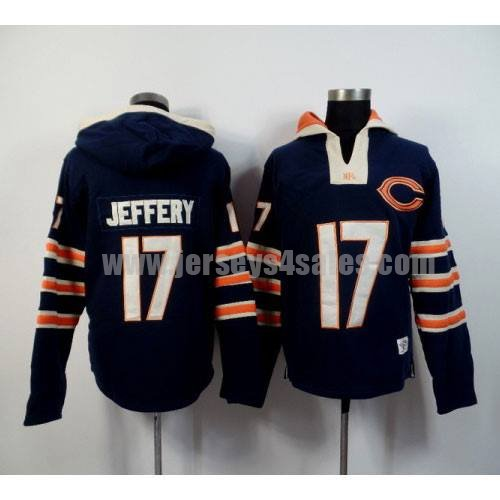 Men's Chicago Bears #17 Alshon Jeffery Navy Blue Team Color New Pullover NFL Hoodie