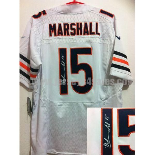 Nike Bears #15 Brandon Marshall White Men's Stitched NFL Elite Autographed Jersey