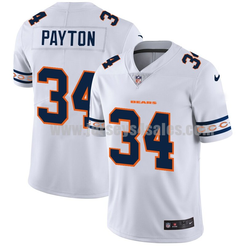 Men's Chicago Bears #34 Walter Payton White NFL Team Logo Cool Edition Jerseys
