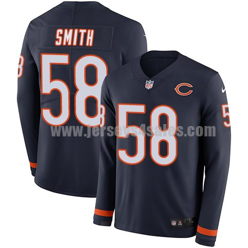 Men's Nike Chicago Bears #58 Roquan Smith Navy Blue Team Color Stitched NFL Limited Therma Long Sleeve Jersey