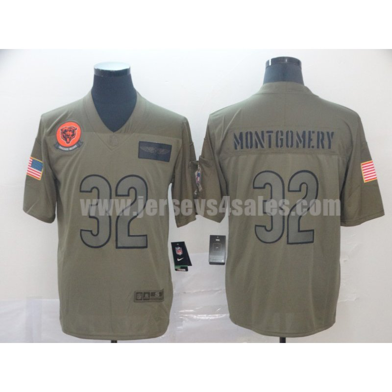 Men's Chicago Bears #32 David Montgomery Nike Camo 2019 Salute to Service Limited Jersey