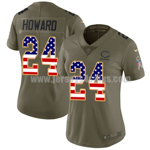 Women's Nike Chicago Bears #24 Jordan Howard Olive/USA Flag Stitched NFL Limited 2017 Salute to Service Jersey