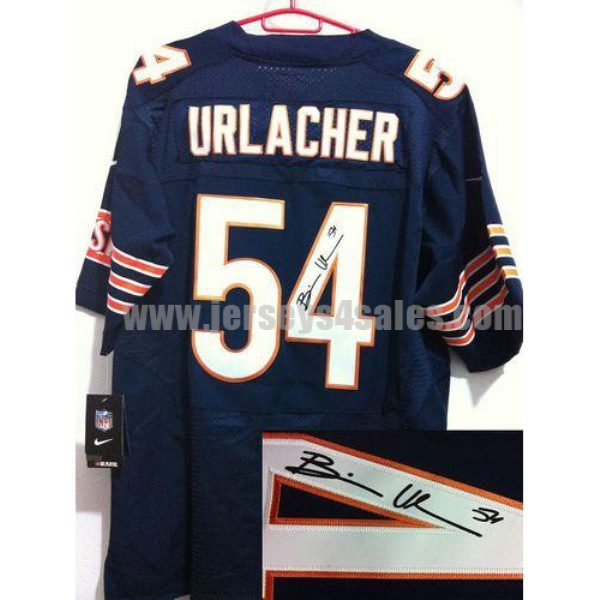 Nike Bears #54 Brian Urlacher Navy Blue Team Color Men's Stitched NFL Elite Autographed Jersey