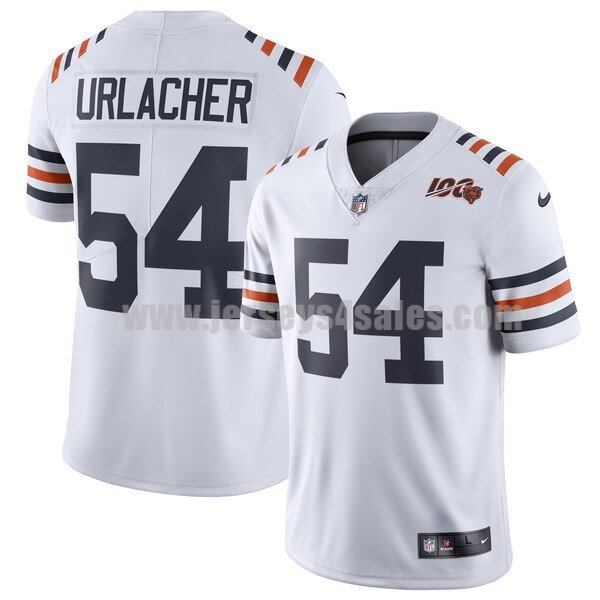 Men's Chicago Bears #54 Brian Urlacher Nike White 2019 100th Season Alternate Classic Retired Player Limited Jersey