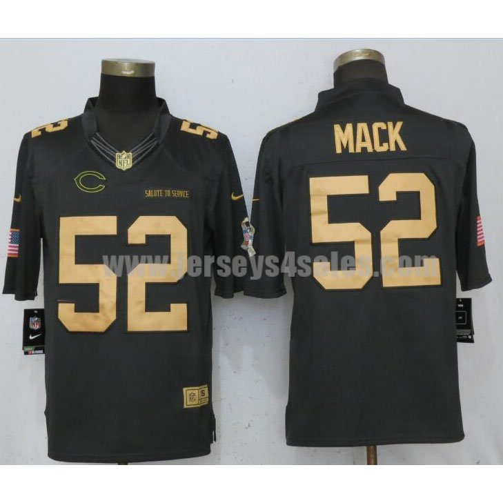 Men's New Nike Chicago Bears #52 Khalil Mack Gold Anthracite Salute To Service Limited Jersey