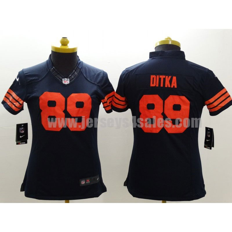 Women's Chicago Bears #89 Mike Ditka Navy Blue With Orange Numbers Nike NFL Limited Jerseys
