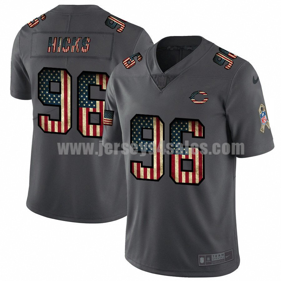 Men's Chicago Bears #96 Akiem Hicks NFL Nike Pays Tribute To Retro Flag Carbon Black Limited Jerseys