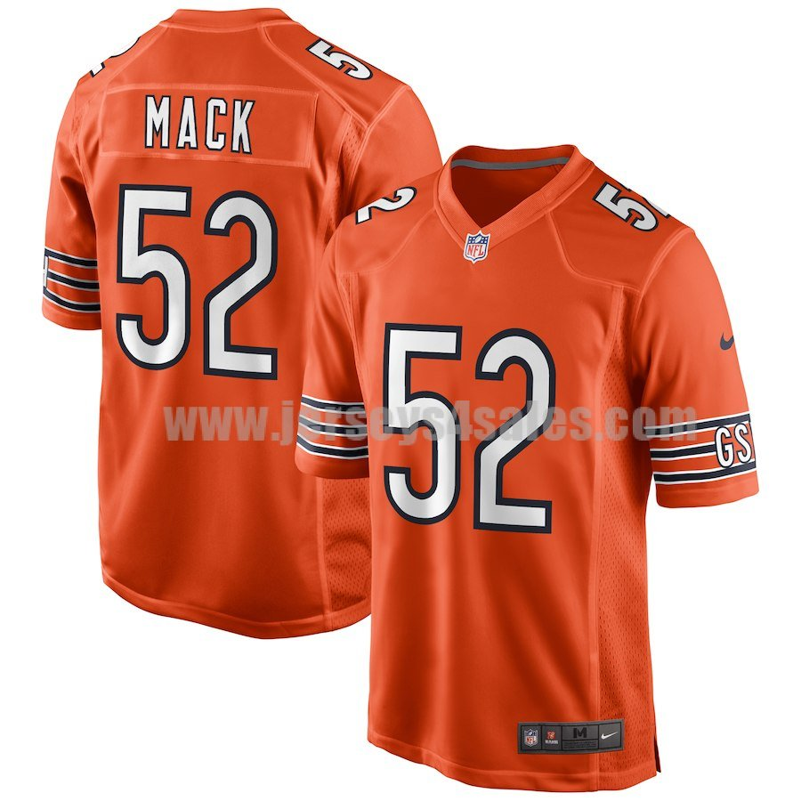 Men's Nike Chicago Bears #52 Khalil Mack Orange NFL Game Jersey