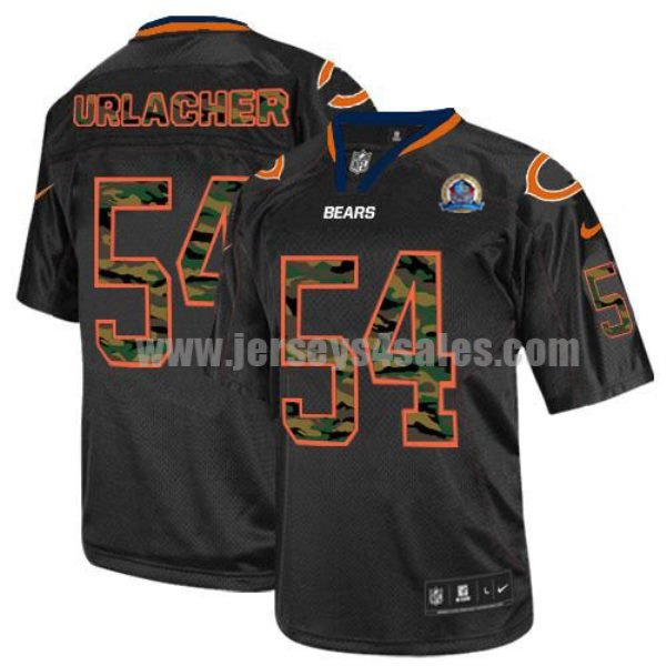 Nike Bears #54 Brian Urlacher Black With Hall of Fame 50th Patch Men's Stitched NFL Elite Camo Fashion Jersey