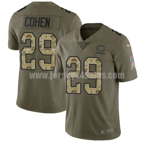 Men's Nike Chicago Bears #29 Tarik Cohen Olive/Camo Stitched NFL Limited 2017 Salute To Service Jersey