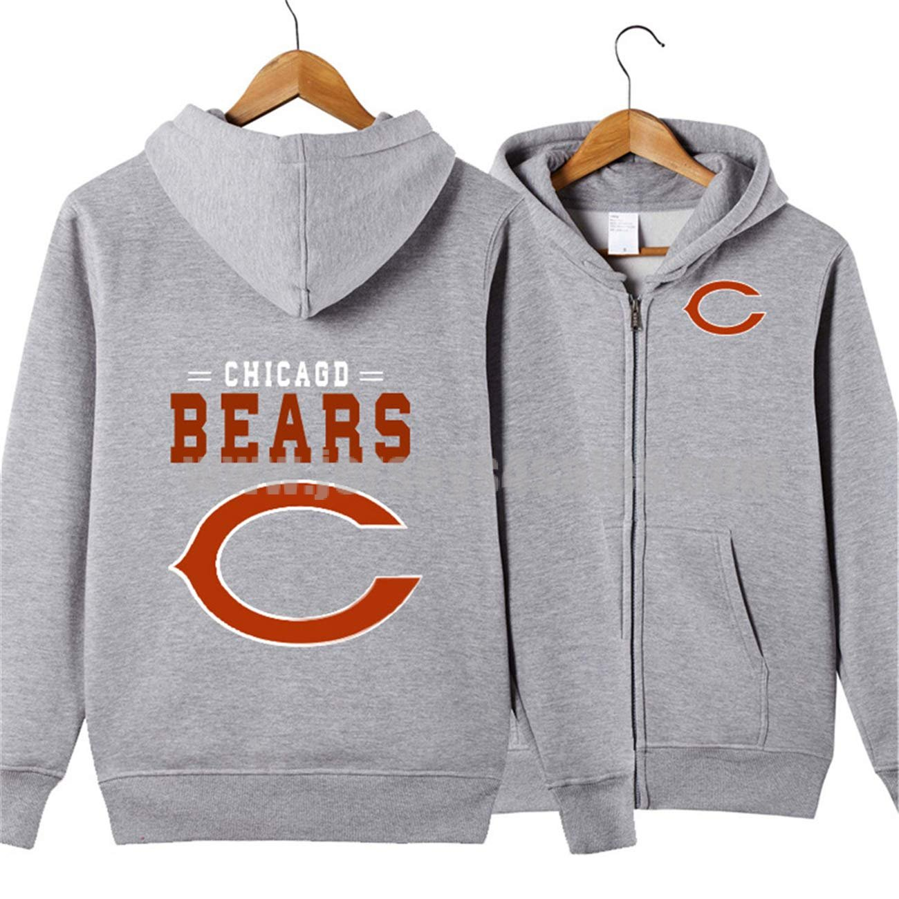 Men's Long Sleeve Hooded Letters Print Chicago Bears Solid Color Zipper HOODIES