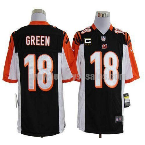 Nike Bengals #18 A.J. Green Black Team Color With C Patch Men's Stitched NFL Game Jersey