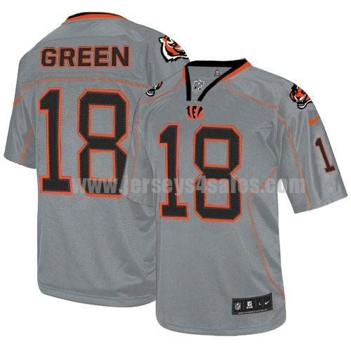 Nike Bengals #18 A.J. Green Lights Out Grey Men's Stitched NFL Elite Jersey