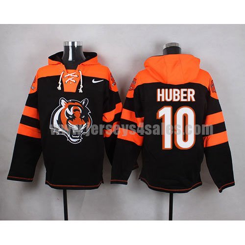 Men's Cincinnati Bengals #10 Kevin Huber Big Logo Print Lace-Up NFL Hoodie - Black