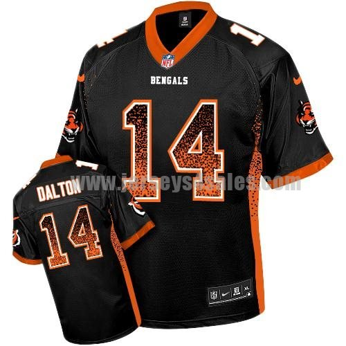 Nike Bengals #14 Andy Dalton Black Team Color Men's Stitched NFL Elite Drift Fashion Jersey