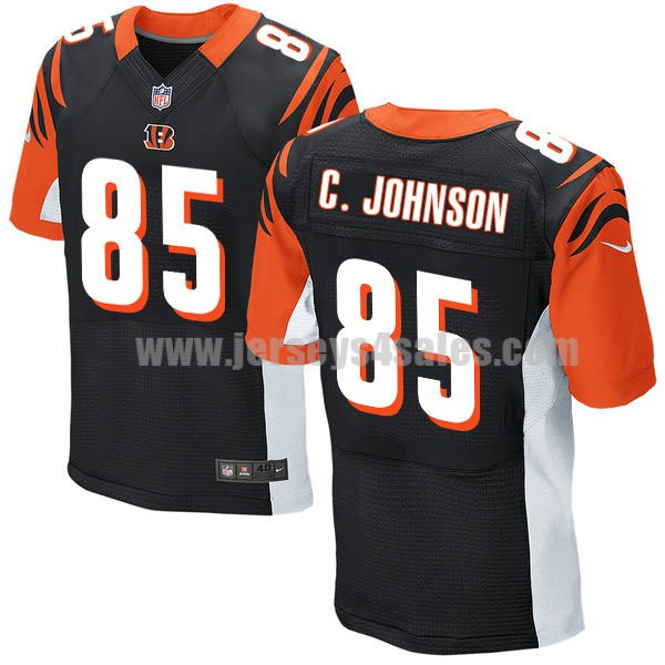 Men's Cincinnati Bengals #85 Chad Johnson Black Stitched Nike NFL Home Elite Jersey