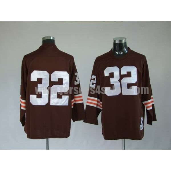 Mitchell & Ness Browns #32 Jim Brown Brown Stitched Throwback NFL Jersey