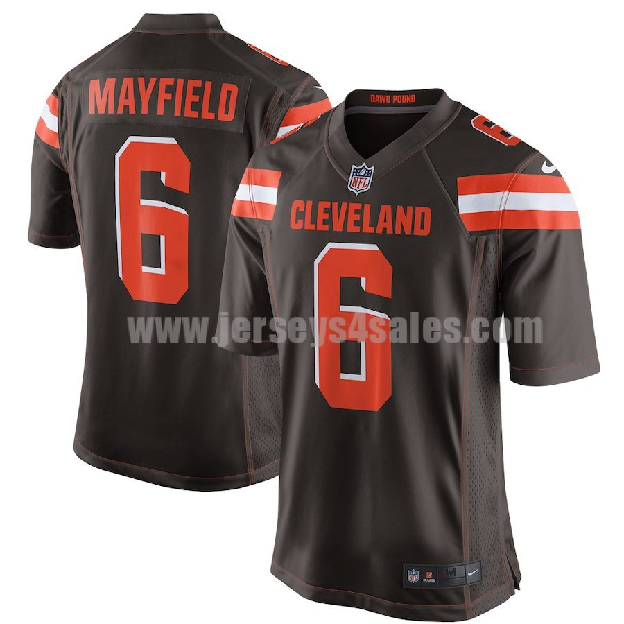 Men's Cleveland Browns #6 Baker Mayfield Brown Nike 2018 NFL Draft Pick Game Jersey