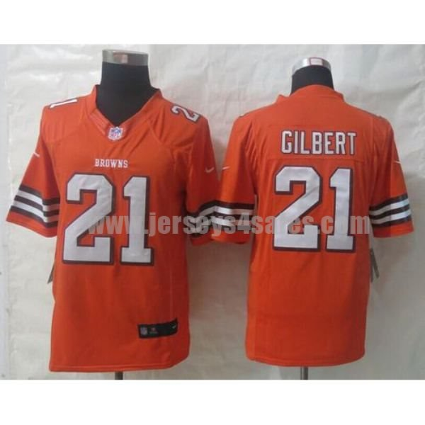 Nike Browns #21 Justin Gilbert Orange Alternate Men's Stitched NFL Limited Jersey