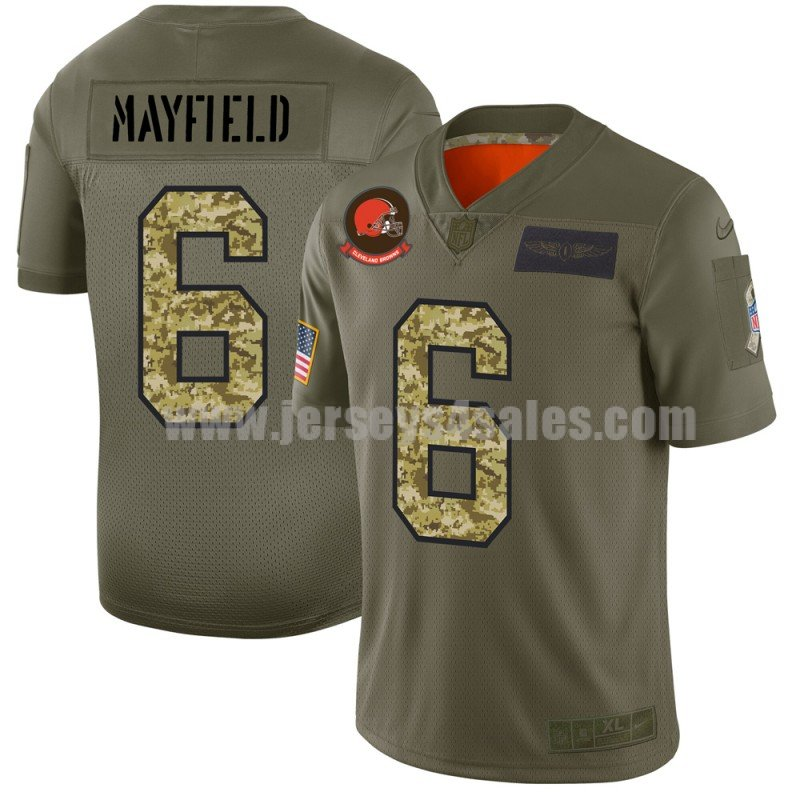 Men's Cleveland Browns #6 Baker Mayfield Nike 2019 Olive/Camo Salute to Service Limited Jersey
