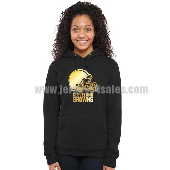 Women's Cleveland Browns Pro Line Black Gold Collection Pullover NFL Hoodie