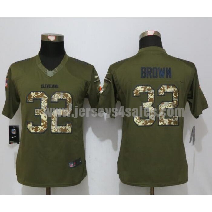 Women's Cleveland Browns #32 Jim Brown Green Stitched Nike NFL Salute To Service Limited Jersey