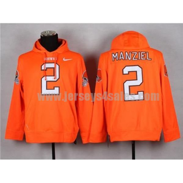 Nike Browns #2 Johnny Manziel Orange Pullover NFL Hoodie