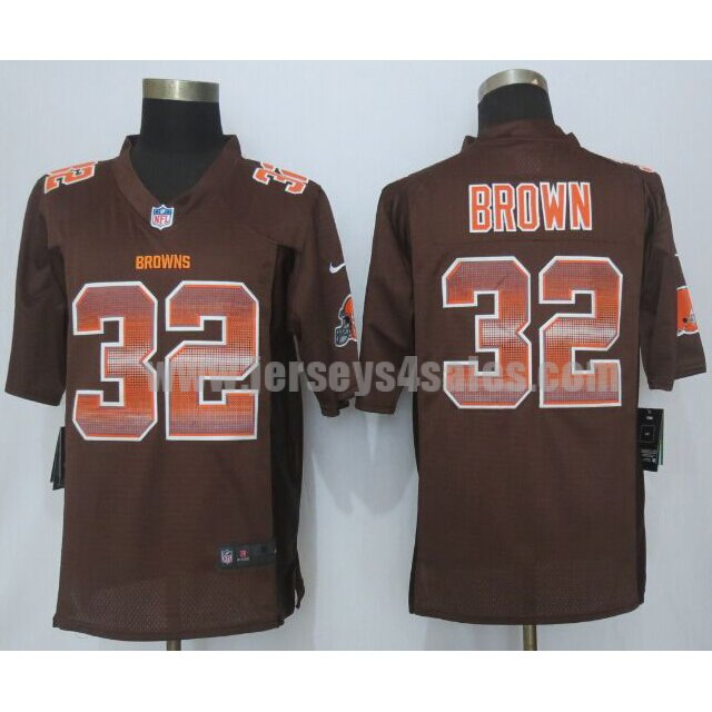 Men's Cleveland Browns #32 Jim Brown Brown Team Color Stitched Strobe Retired Player Nike NFL Limited Jersey